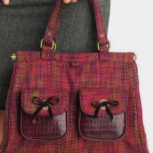 Gap Red Tweed Satchel Utilitarian Pockets